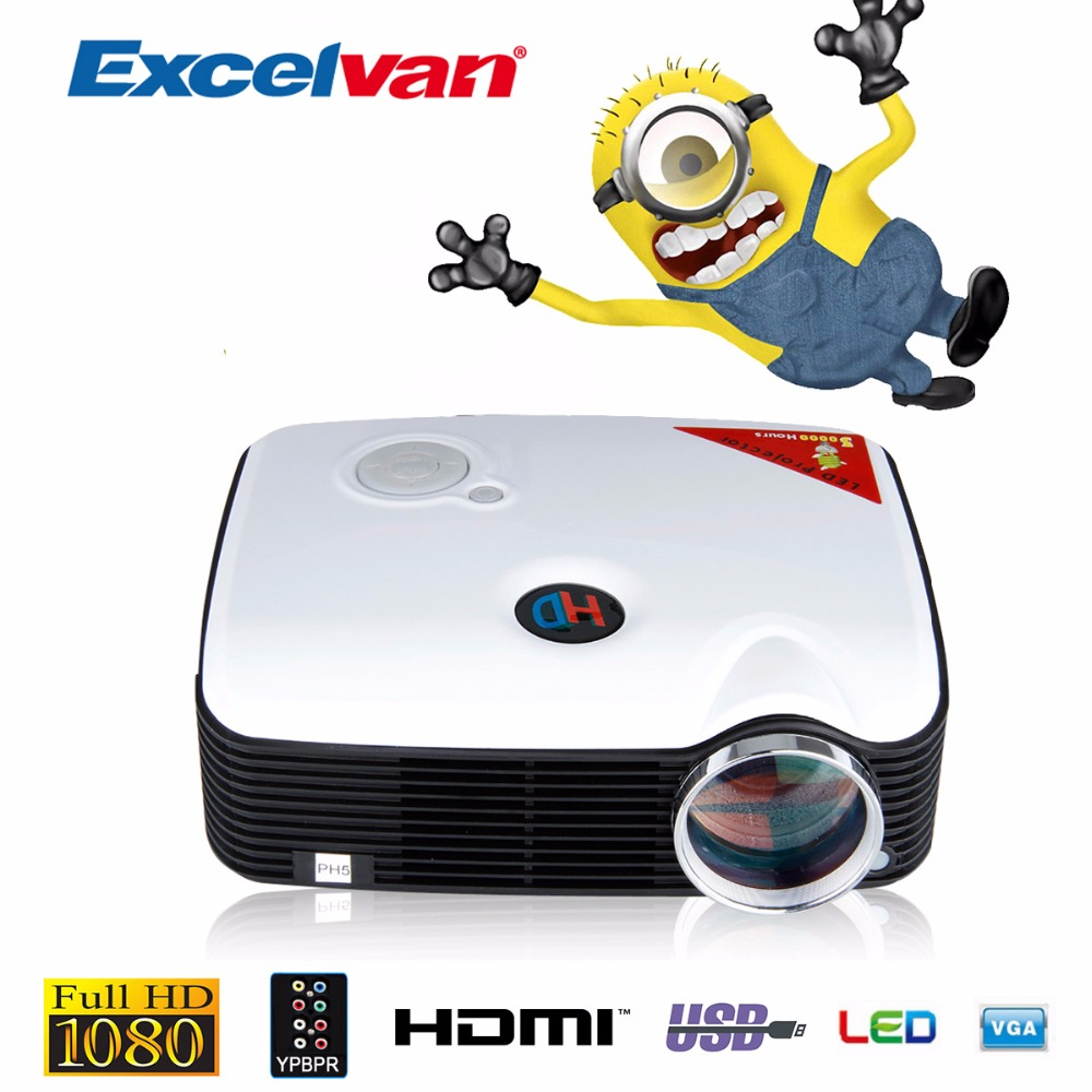 Excelvan PH5 Projector 2500 Lumens Multimedia Projector Home Cinema AV/TV/VGA/HDMI for DVD/PC/Tablet Support 1080P Proyector(China)