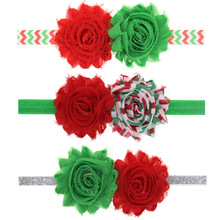12PCS/LOT Wave Red Green Chiffon Flower Christmas Hair Bows Headband kids Hair Accessories Best Merry Christmas DIY Headwear(China)