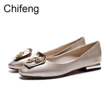 Flat shoes women loafers genuine leather womens casual round head summer 2017 new petals design woman shoes(China)