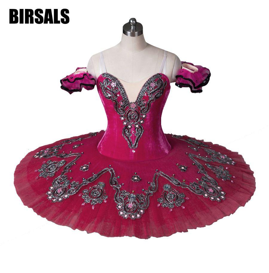 Customized Rose red Classical Ballet Tutu Professional Ballerina Dance CostumeBT8993D