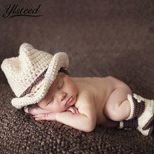 Handmade Hats + Shoes Set Newborn Jazz Suit Cowboy Clothes Casual Baby Boys Winter Baby Clothing Baby Photo Props