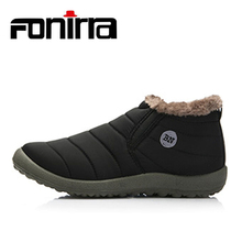 FONIRRA Men Snow Boots Solid Color Warming Fabric Slip-on Ankle Boots for Male Winter Outdoor Shoes Plus size 38-48 261(China)