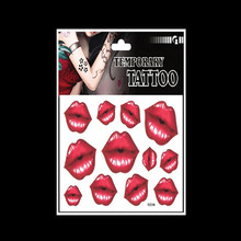 wholesale 12 PCS top quality characteristic red lips pattern printed waterproof tattoo sticker for body decoration(China)