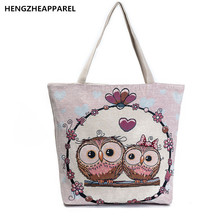 Owl Printed Canvas Women's Casual Tote Daily Use Female Fahion Shopping Bag Ladies Single Shoulder Handbag Simple Beach Bags