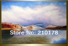 hand-painted wall art Blue sky white cloud lake water home decoration landscape oil painting on canvas  DY-123