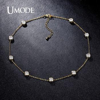 Umode 2016 4 diseños de cristal de circonio cúbico de oro/blanco/rosa de oro bañado choker collares joyería para las mujeres collares UN0228