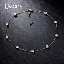 UMODE 2016 4 Designs Cubic Zirconia Crystal Gold / White / Rose Gold Color Choker Necklaces Jewellery for Women Collares UN0228(China)