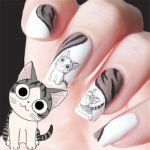 1Set=2Sheets 20 Designs Cute Cat Pattern Nail Art Foil Transfer Decals Water Transfers Stickers 3D Nail Decoration