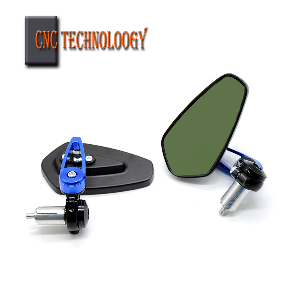 Motorcycle Mirrors Handle Bar End Side Rearview Mirrors Blue Glass Cafe Racer For SUZUKI GSF Bandit 650 650S 1000 1200 SV650