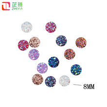 MIX COLOR 8mm most popular Multicolor 50pcs AB Flatback Resin Round Stone beads flatback Resin Rhinestone For DIY Wedding Decora