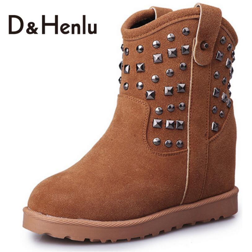 {D&amp;H} Outdoor Skid Thickening Rivets Height Increasing Snow Boots Women Mid-Calf Boots Cotton-padded Winter Shoes Woman Red<br><br>Aliexpress