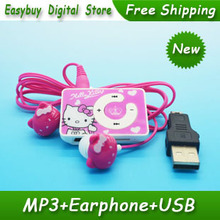 50pcs/lot High Quality Mini Hello Kitty MP3 Music Player Clip MP3 Players Support TF Card With Hello KItty Earphone&Mini USB