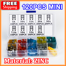 120pcs Car MINI Fuse 7.5A 10A 5A 15A 20A 25A 30A Amp ZINC Assortment Auto Blade Type Fuses Vehicle Boat Truck SUV with Box Clip