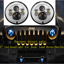 "Chrome 7""  Round led Headlight Lamps With HI/Low Beam 7 "" Led Projector 6500K HID White Headlight Lamp For Wrangler JK defender"