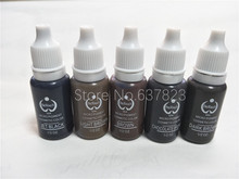 5pcs biotouch tattoo ink set 15ml (1/2OZ) permanent makeup eyebrow pigment brown black colors(China)