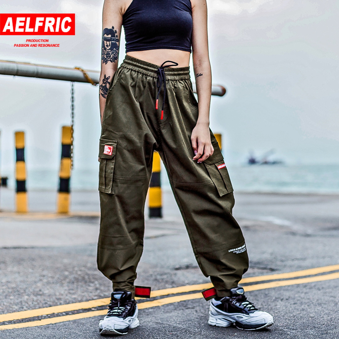 Aelfric Men Women Japanese Style Pants Multi Pockets Loose Casual Trouser Straight Green Cargo Pants Embroidery Sweatpants KJ277