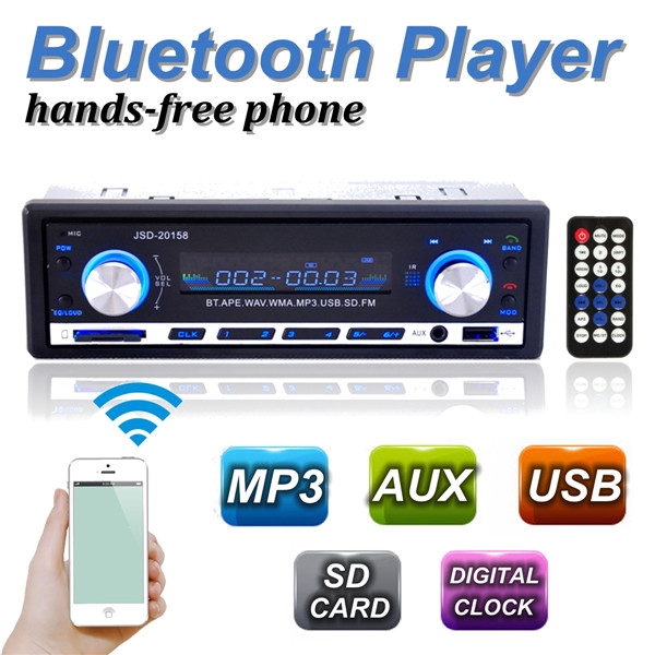 Brand New 12V BLUETOOTH 1-Din Stereo Radio MP3 USB/SD AUX Audio Player Car in Dash 60Wx4 Cell phone charger<br><br>Aliexpress