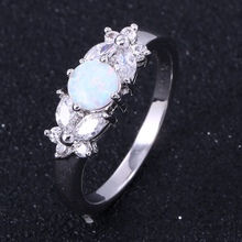 ZHE FAN White Blue Brown Pink Fire Opal Rings For Women Pave AAA Cubic Zircon Romantic Wedding Engagement Female Ring Jewelry(China)