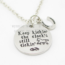 "2015 new arrive Barrel racing Jewelry""Keep kickin the clock's still tickin'""Necklace Hand stamped horse lover jewelry horse gift"