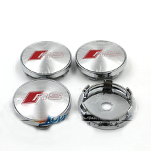 4 pcs RS Sline Wheel Center Cover Badge Gloss Silver Hub Cap Emblem S LINE RS 7 SPORTBACK for audi car styling