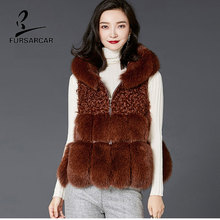 FURSARCAR Women Fur Vest Real Fox Fur And Sheep Fur Coat With Hat Winter Warm Slim Genuine Leather Real Fur Vest Jacket Coat(China)