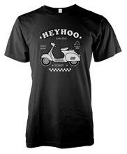 Free Shipping Mens New Fashion O-Neck Stylish Scooter Vespa Motorcycle Adult T-Shirt slim T-Shirts
