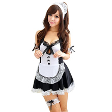 Buy Porn Babydoll Sexy Lingerie Hot Erotic Uniform Lingerie Women Sexy Deep V-Neck Sex Maid Maid Cosplay Costume Teddy