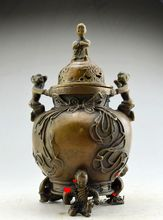 Pure copper sculpture six sub - incense burner to do the old aroma furnace bronze antique Qianlong of the system(China)
