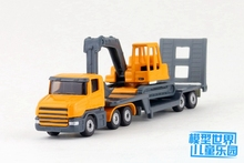 (5pcs/lot) Wholesale Brand New SIKU 1/87 Scale Heavy Engineering Transporter Truck With Excavator Diecast Metal Car Model Toy