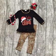 baby girls Christmas outfit girls Santa's favorite diva clothing baby girls boutique party clothes leapord pants with accessorie