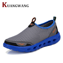 2016 New Men Summer Mesh Shoes Loafers Slip On Super Cool Water Shoes Walking Comfortable Breathable Men's Shoes zapatos(China)