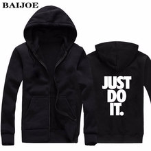 BAIJOE Men Hoodies Just Do It Letter Printed Casual Hoodies Mens Fleece Fashion Hip Hop Hoody Mens Hoody sweatshirt Jackets