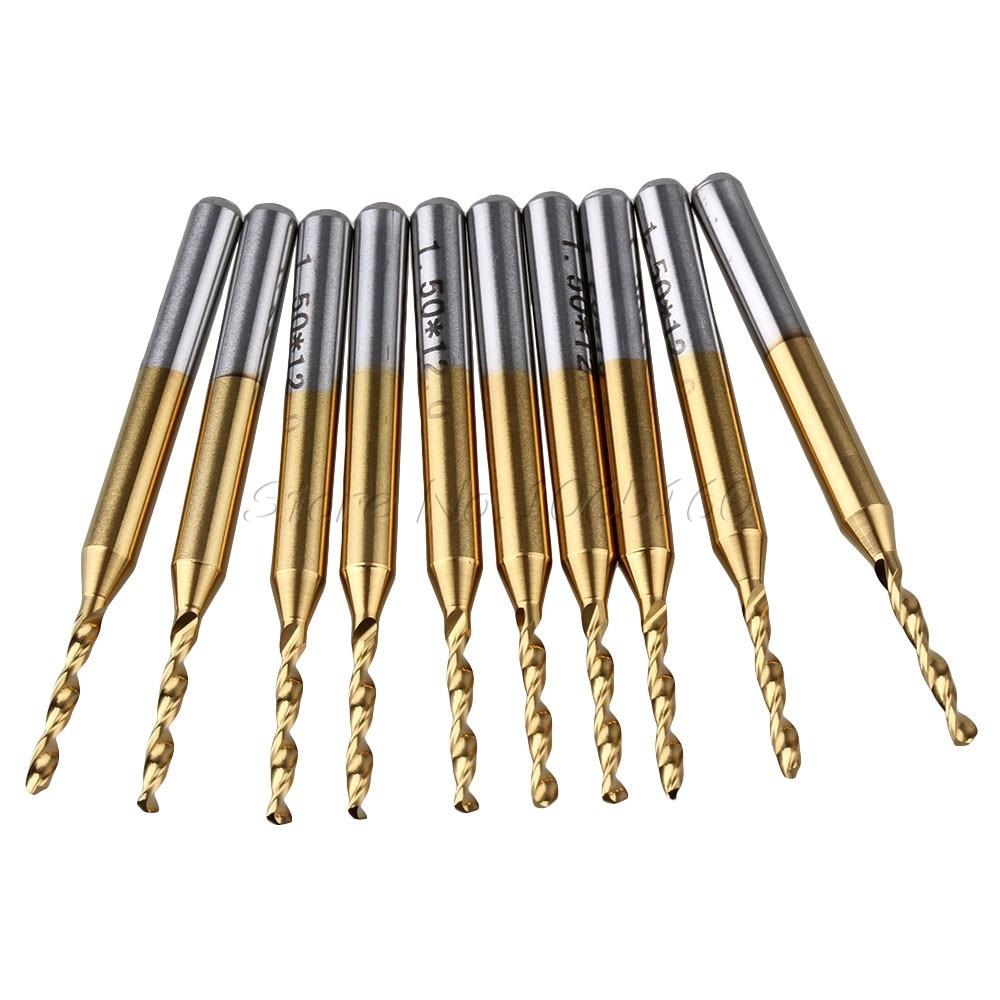 G 10pcs 1/8 Titanium Carbide Micro Drill Bit 1.5mm PCB Jewelry Rotary Mill Tool T<br><br>Aliexpress