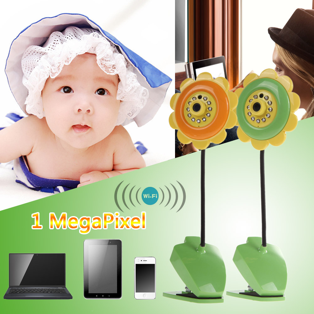 Sunflower design wireless camera baby monitor for Home Security with Wifi Camera DVR Night Vision Green<br>