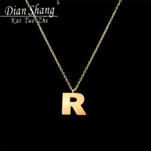 DIANSHANGKAITUOZHE Classic Graduation Gift BFF Gold-Color Initial R Stainelss Steel Metal Tag Pdendant Necklace For Women 2017