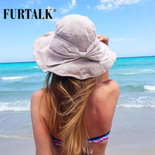 FURTALK Summer Sun Hats for Women Fashion Design Women Beach Cotton Hat Foldable Brimmed Bucket Hat for Fishing(China)