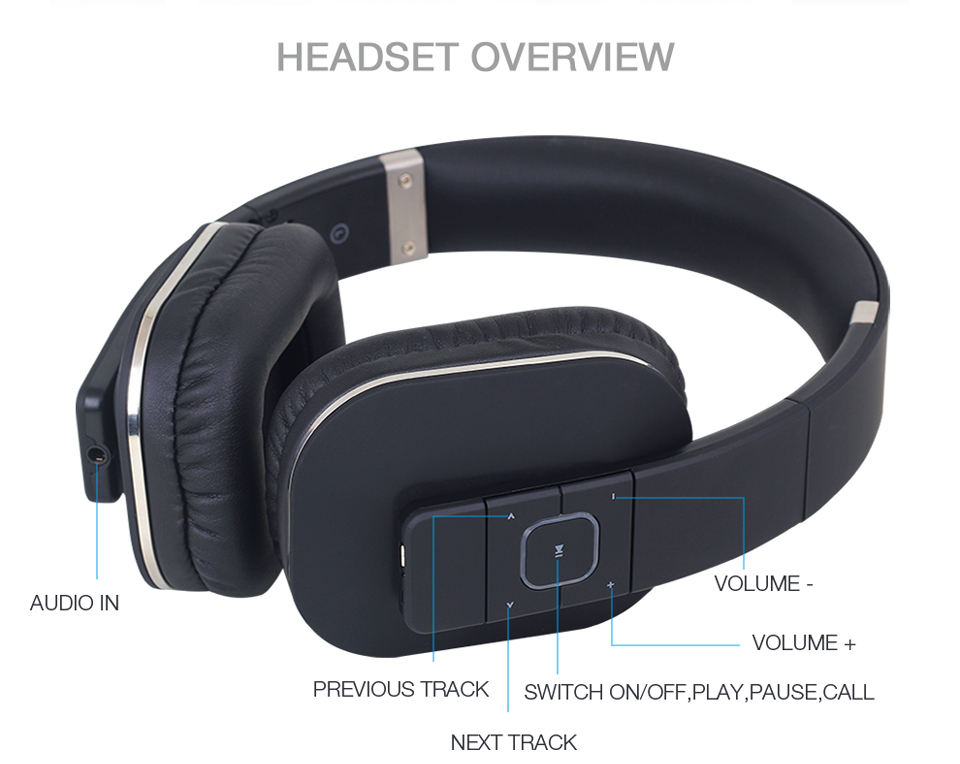August EP650 Bluetooth Headphones with Microphones