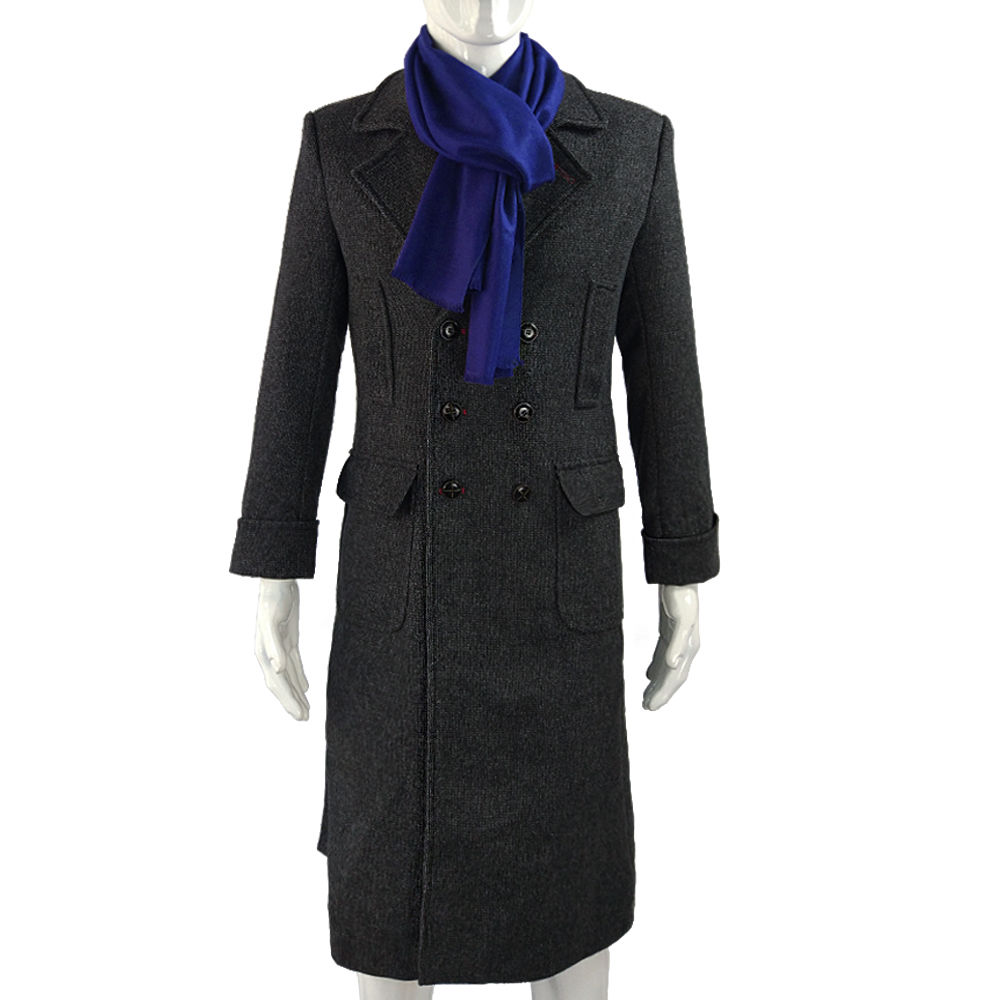 Cosplay Sherlock Holmes Cape Coat Costume Wool Long Jacket Outfit With Scarf New3