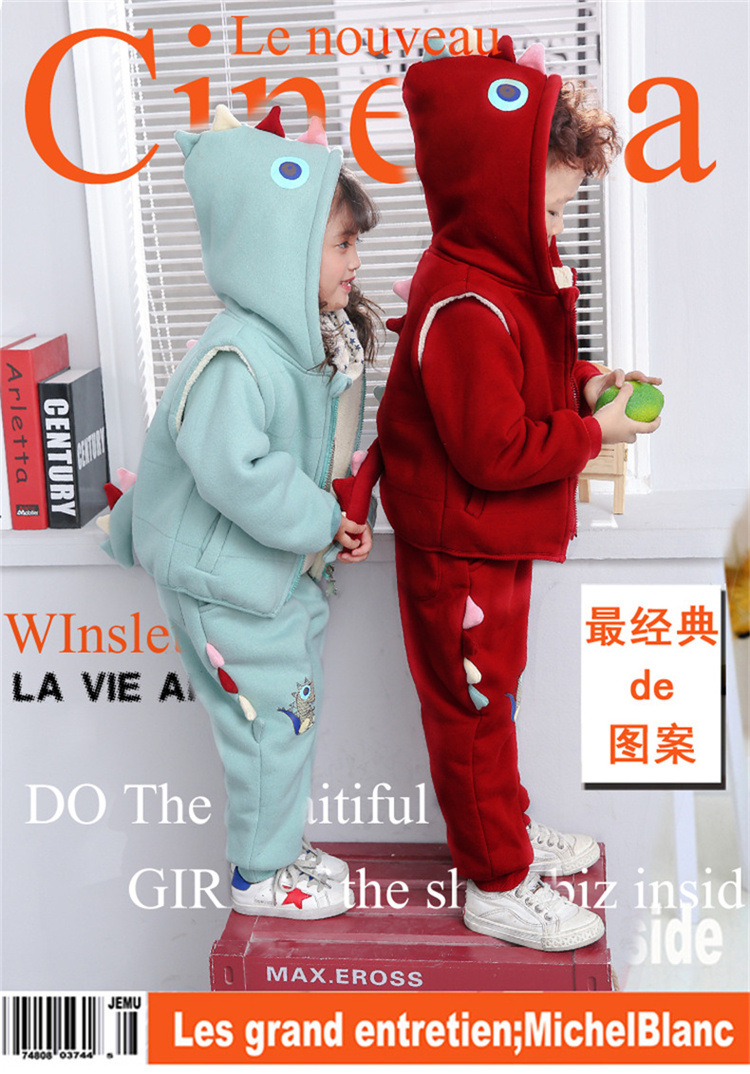 2018 New Winter Children Clothing Set boys girls Dinosaur Hoodies 3pcs Suit Baby Cartoon Thicken Warm Outwear Free Shipping<br>
