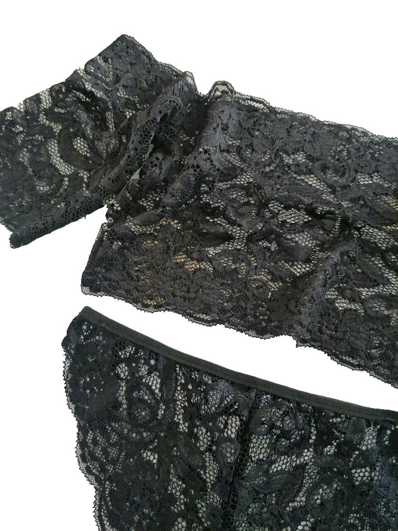 Lace Bralette & Panties, Sexy Women's Plunge Underwear Set, Bra & Brief Set, Transparent Black See Through Tube Top 12