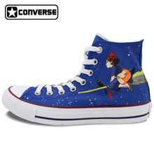 High Top Converse Chuck Taylor Anime Kiki's Delivery Service Miyazaki Hayao Dark Design Hand Painted Shoes Woman Man Sneakers