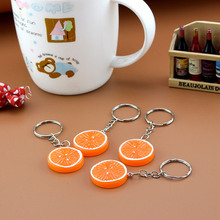 Fruit Keyring Orange & Lemon Charm Pendant Keychain  for Purse Bag Car Party Wedding Gift Collection