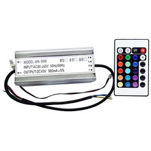90W Waterproof RGB LED Driver 40V 900MA + 24 Keys Remote Control for Led Bulb Lamp Light Portable Lighting Transformers