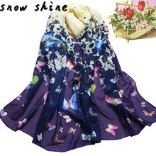 snowshine #4503 Women Butterfly Printed Flower Soft Muffler Chiffon Scarf Wrap Shawl free shipping(China)