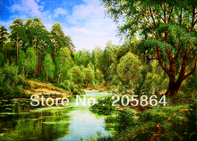Free shipping wall gobelin tapestries,size 30x40cm art pictures for washing room and porch,the rivulet in forest(China)