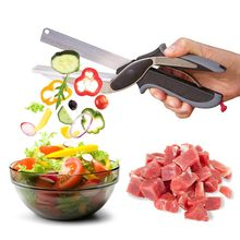 2 In 1 Multi-Function Kitchen Scissors Clever Cutter Knife&Board Stainless Steel Kitchen Knives Meat Potato Cheese Vegetable Cut