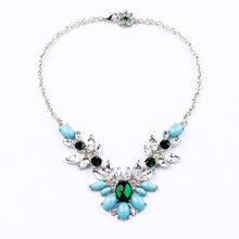 SJ0217 Idg Elegant accessories Europe and the United States fashion jewelry manufacturers Light Blue Crystal Pendant Necklace