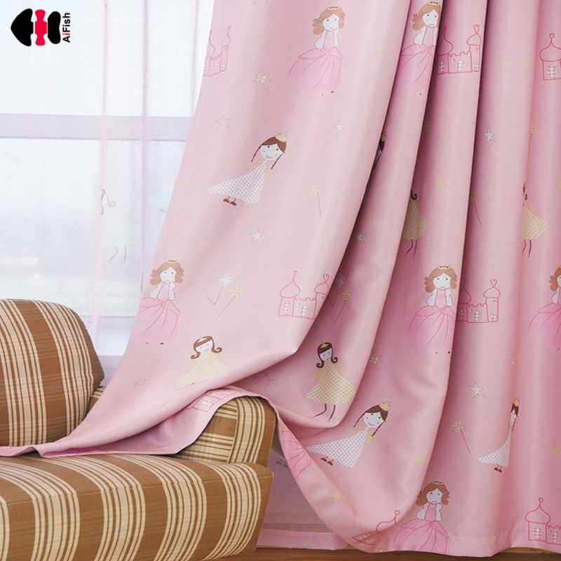 Cute Princess Printed Curtains for Kids Room Infant Baby Girl Nursery New Home Decor French Window Treatment Rideaux WP139C
