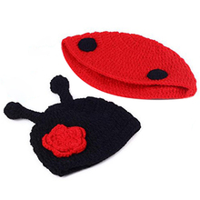 Newborn Baby Handmade Crochet Baby Hat Beanie Knitting Cartoon Cute Naughty Props Photography Costume Set (Beatles)(China)