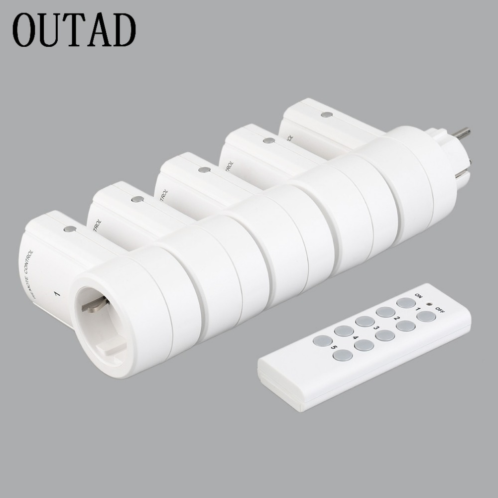 5 Wireless Remote Control Switches Socket  Power Outlets Electrical Plugs Adaptors with Remote Control EU Plug White Wholesale<br>